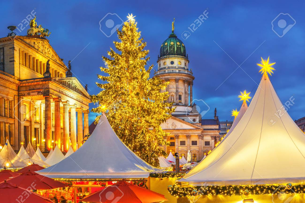 Christmas market, French church and konzerthaus in Berlin, Germany - 64819850