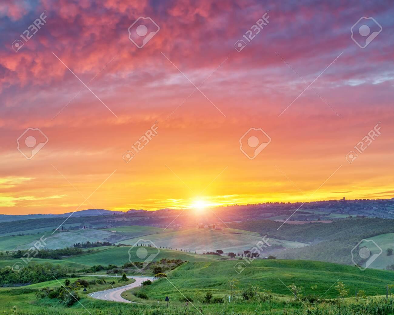 Beautiful Tuscany landscape at sunrise, Italy - 122016565