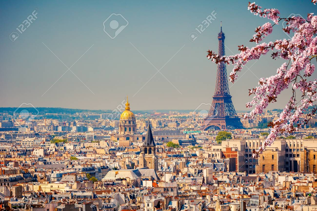 View on Eiffel Tower in Paris at spring, France - 123027852