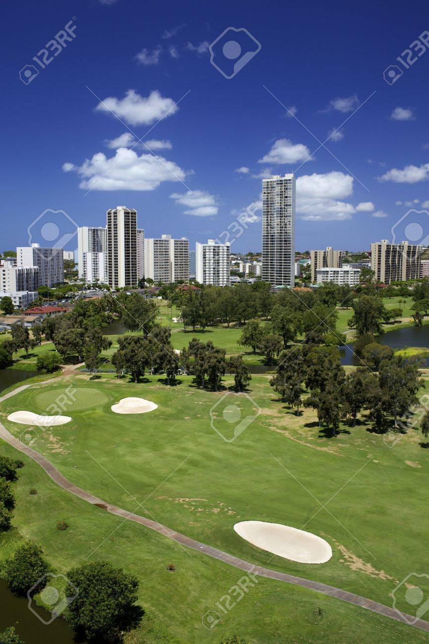 Golf Course with High Rise Buildings Stock Photo - 10383029