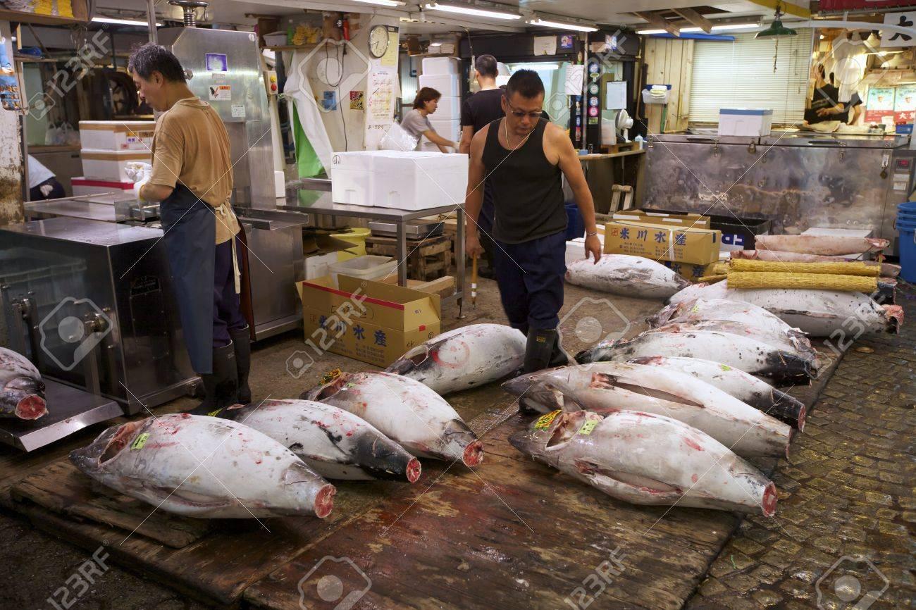 TOKYO- JULY 4: Fresh Tuna from auction at the Tsukiji Wholesale