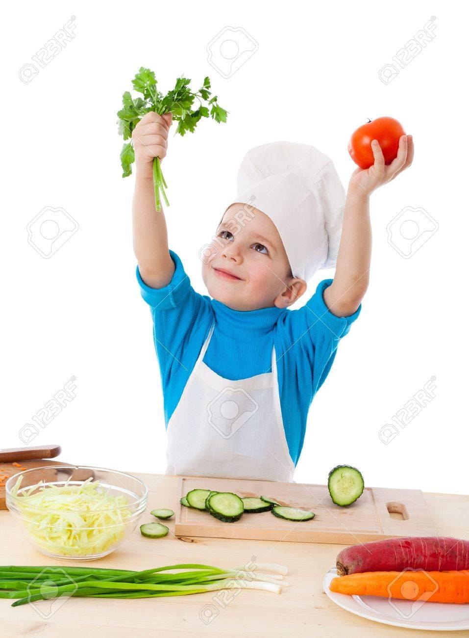 Poco Cucinare Alzando Le Mani Con Prezzemolo E Pomodori, Isolato ...