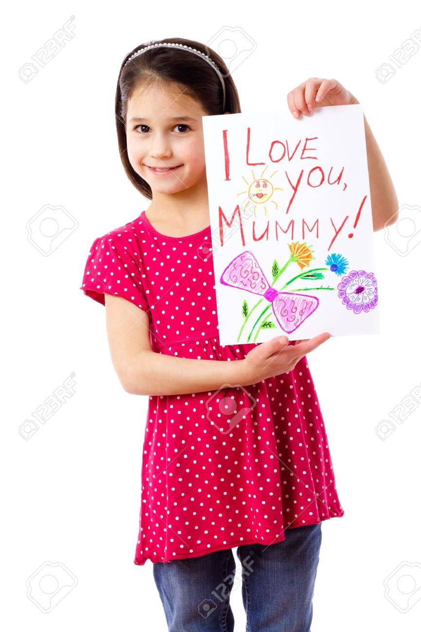 Little girl with drawing for mum, isolated on white Stock Photo - 12353559