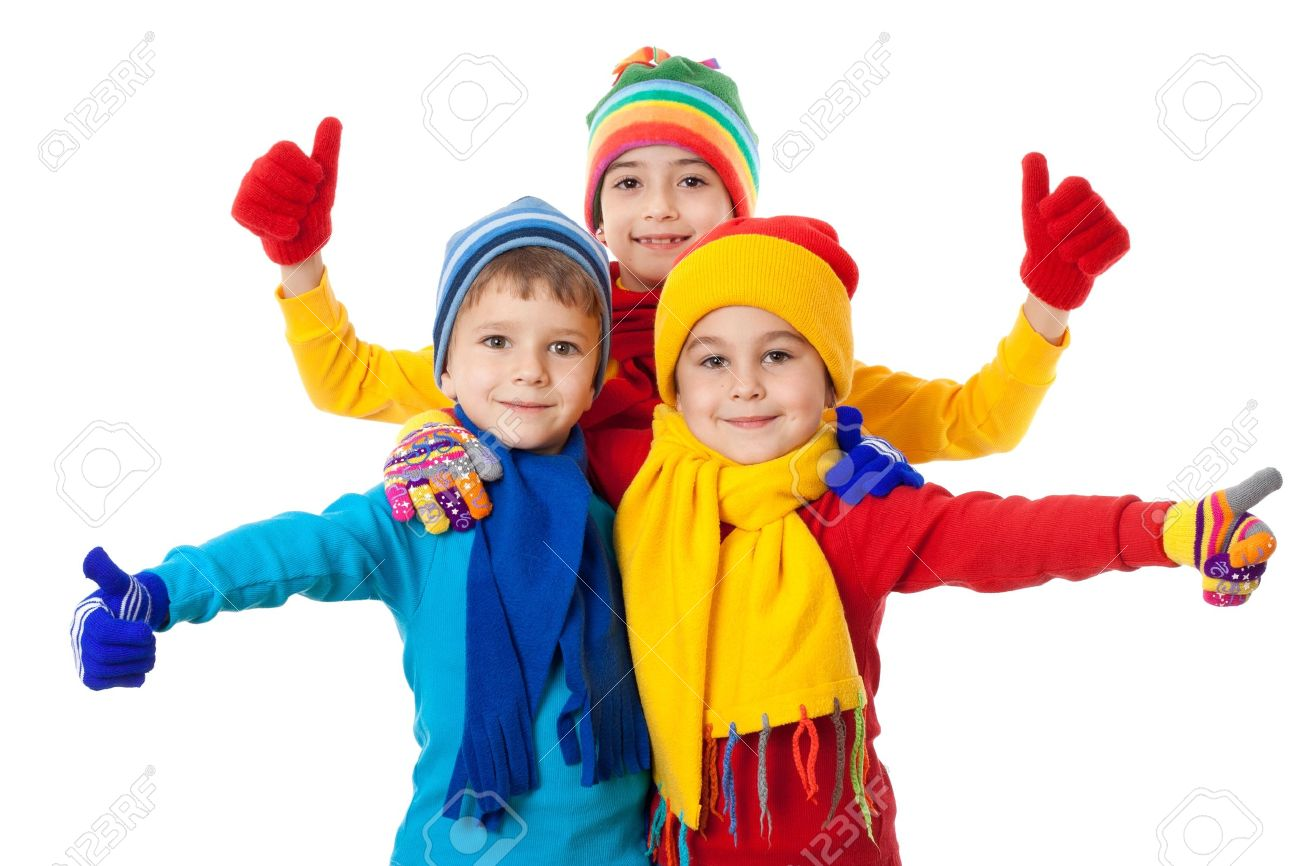 Group of kids in bright winter clothes and ok sign, isolated on white Stock Photo - 16141065