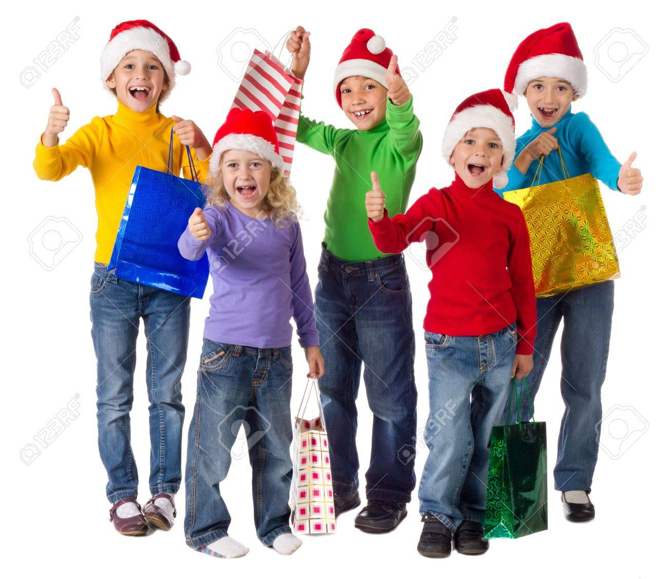 Group Of Happy Kids With Christmas Gifts And Thumbs Up Sign ...