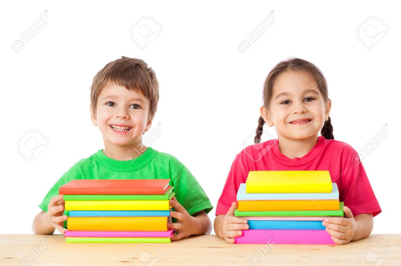 Smiling kids with pile of books, isolated on white Stock Photo - 16682539