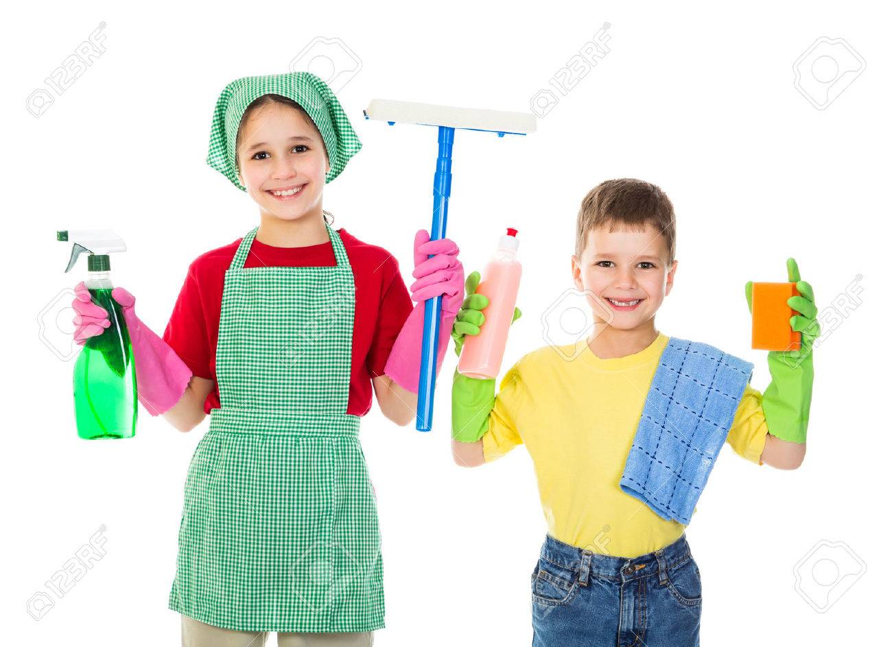 White gloves apron cleaning services - Happy Kids With Cleaning Equipment Isolated On White Stock Photo 27711512