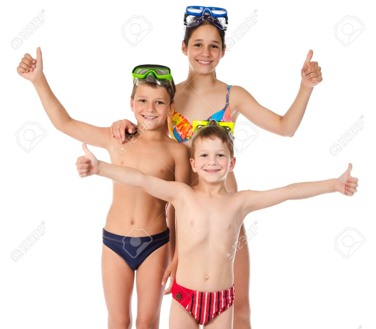 4f10809d9a407 Family With Three Happy Kids In Swimsuit Standing Together