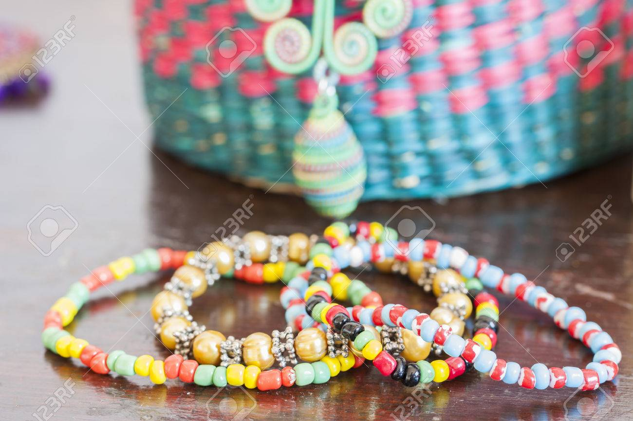 Various Bracelets Colorful Plastic Beads. Costume Jewelry For ...