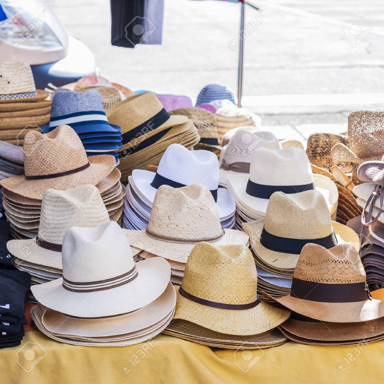 dada65df9c3f6 All Kinds Of Hats For Men On Sale In A Stand Of A Local Market Stock ...