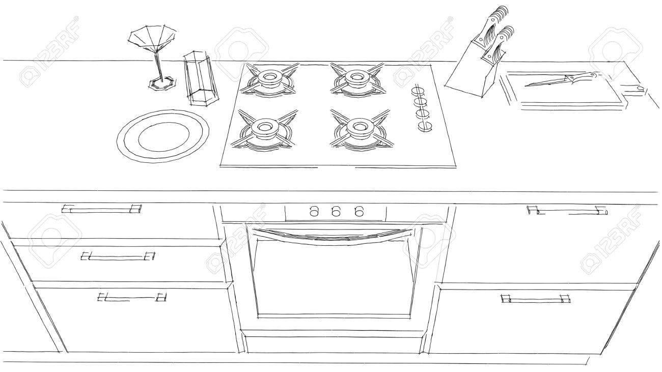 Sketch Drawing Of Built In Kitchen Stove And Oven Black White Top View