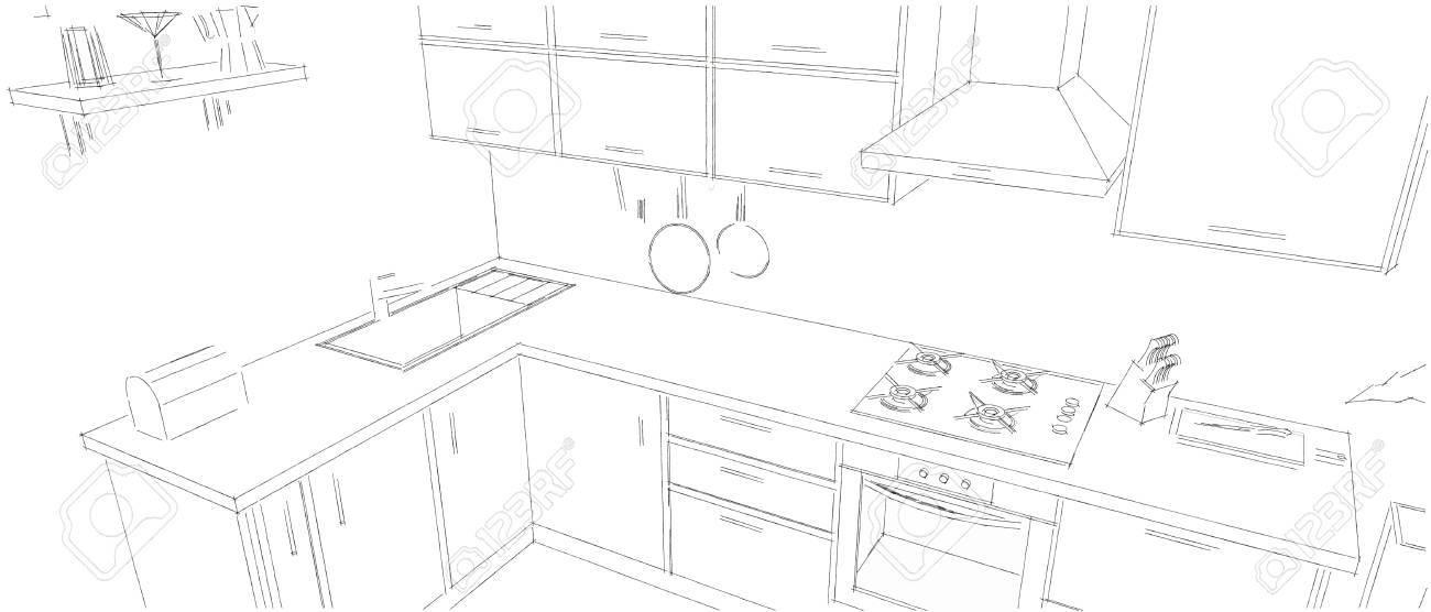 Illustration   Sketch Of Modern Corner Kitchen. 3d Outline Illustration.  Black Pencil Lines On White Background.