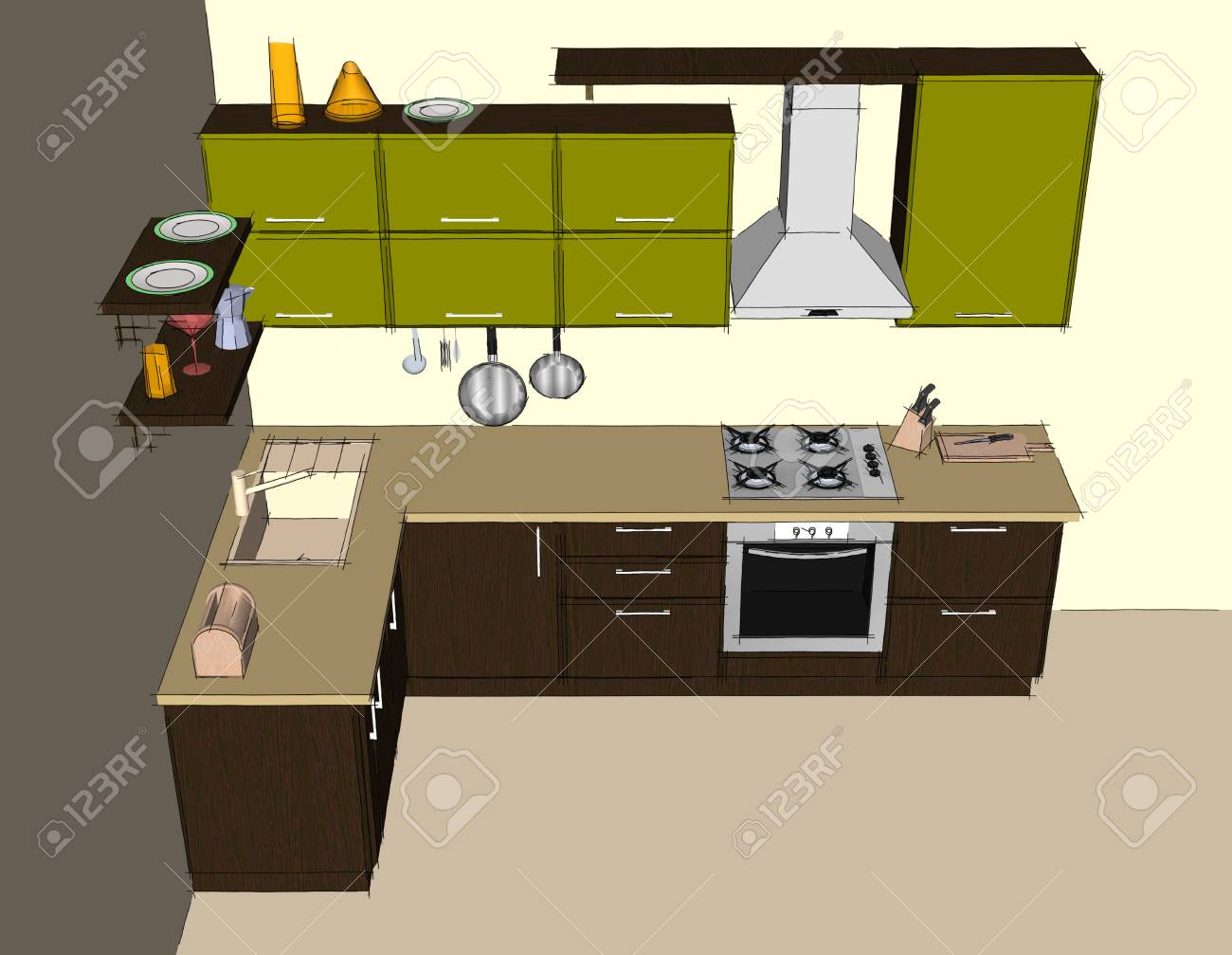 Sketch abstract drawing of green and brown modern corner kitchen