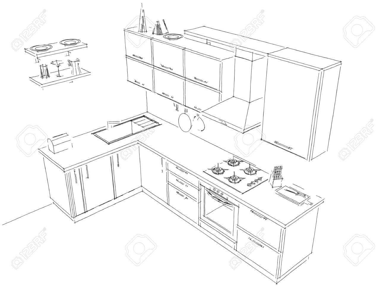Sketch of contemporary corner kitchen 3d pencil black and white