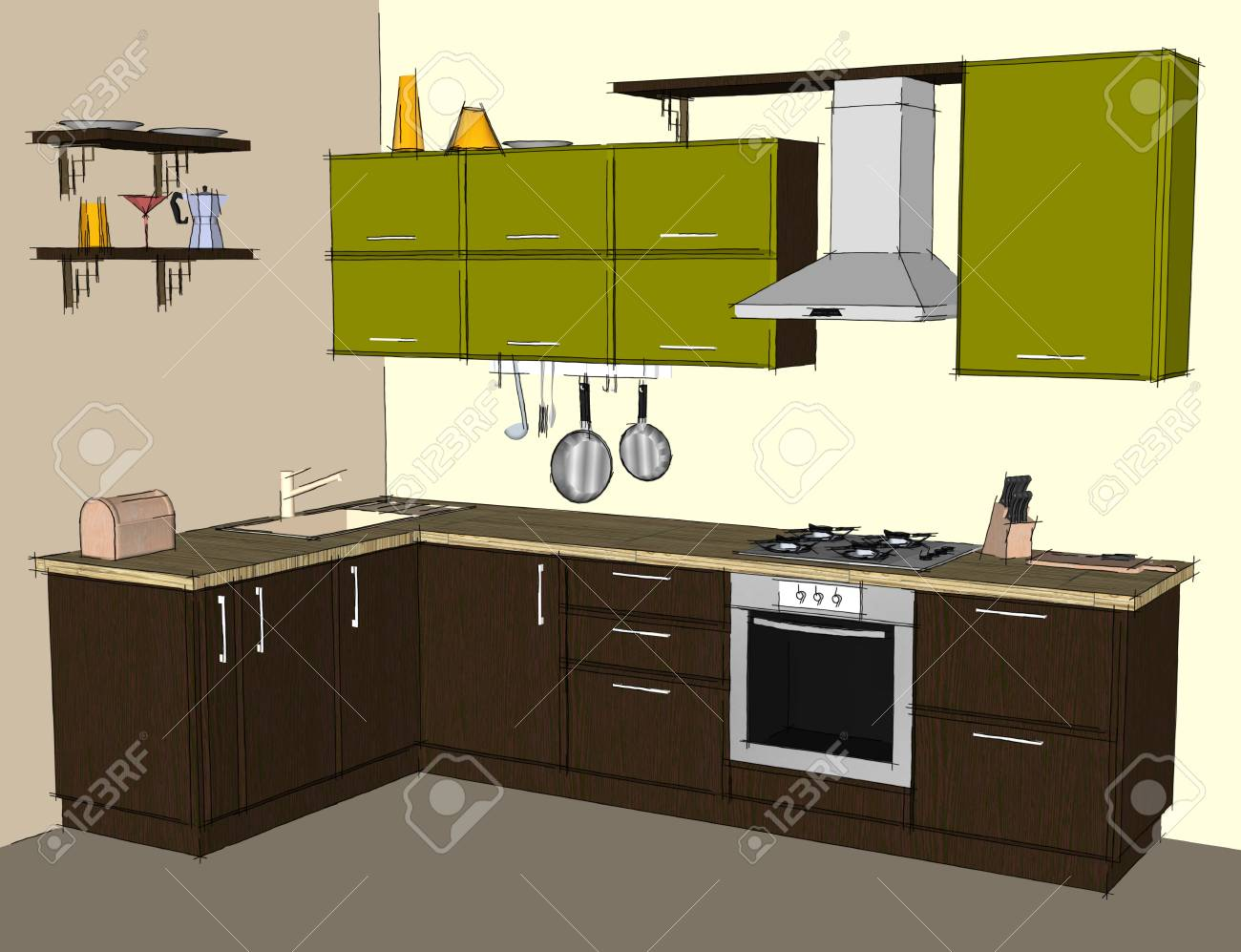 Abstract drawing of green and brown modern corner kitchen interior