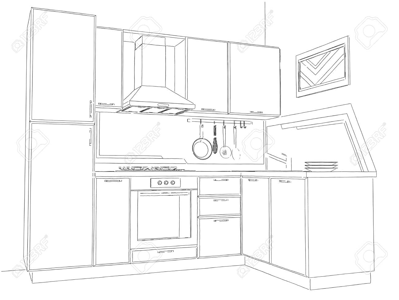 Modern Corner Kitchen Interior Pencil Drawing. Stock Photo   73865046