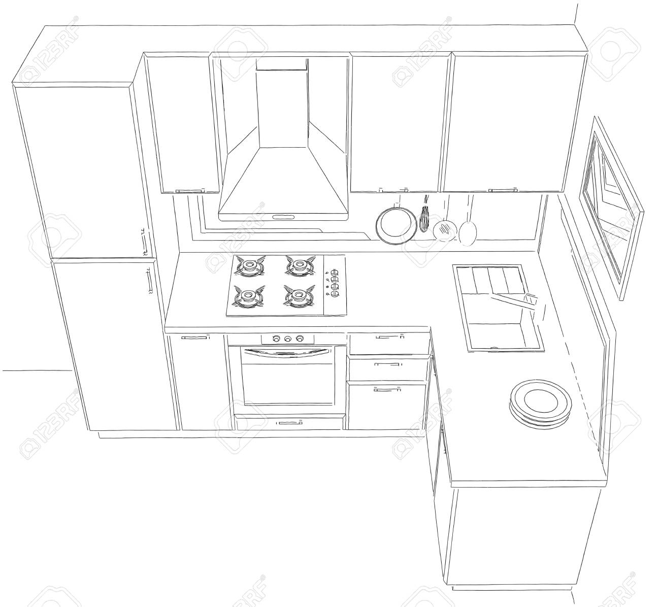 Small corner kitchen interior 3d contour illustration top perspective view stock illustration 73865526