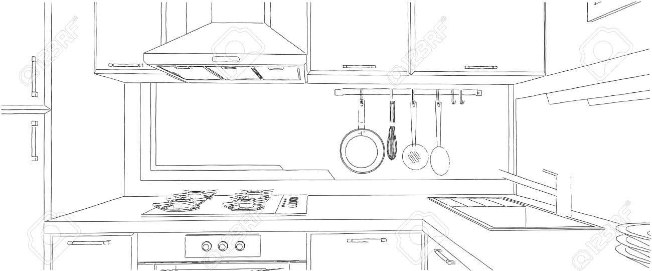 Moderne Ecke Küche Interieur Skizze Mit Abstrakten Malerei An Der Wand.  Standard Bild