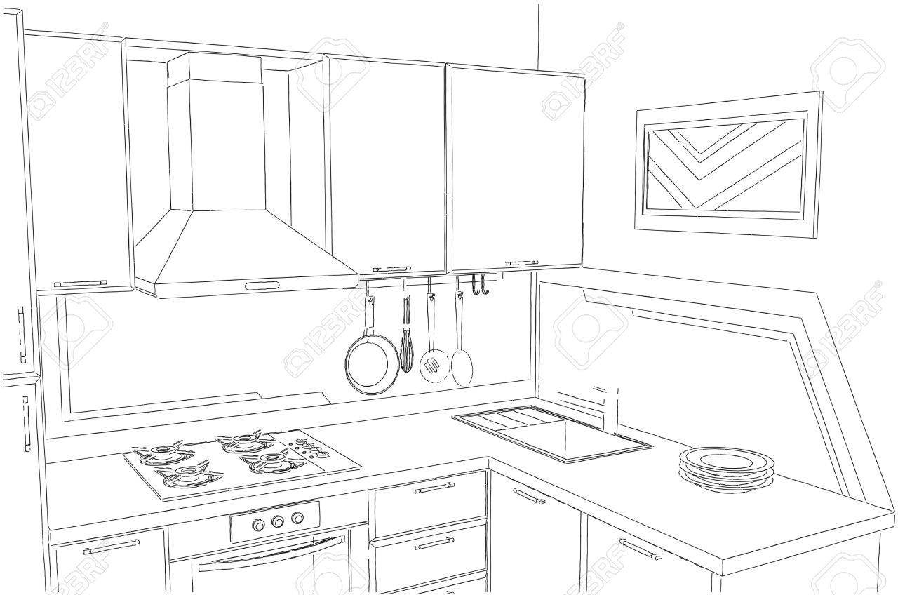 Small Corner Kitchen Interior Freehand Drawing Stock Photo Picture