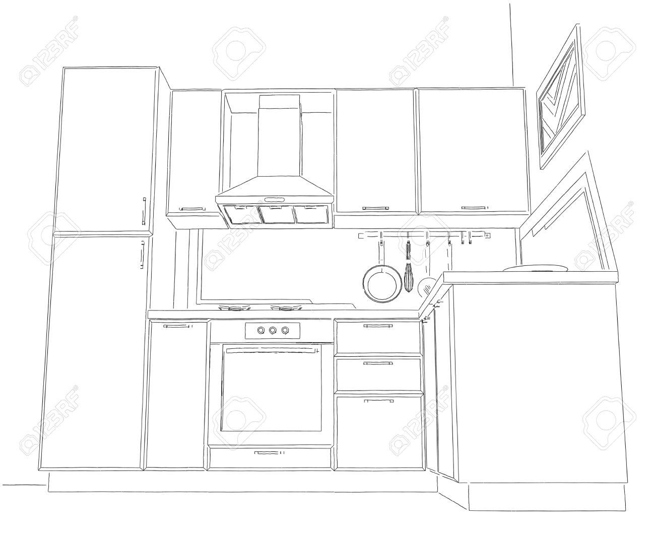 Kleine Ecke Küche Mit Eingebautem Kühlschrank 3D Umriss Illustration ...