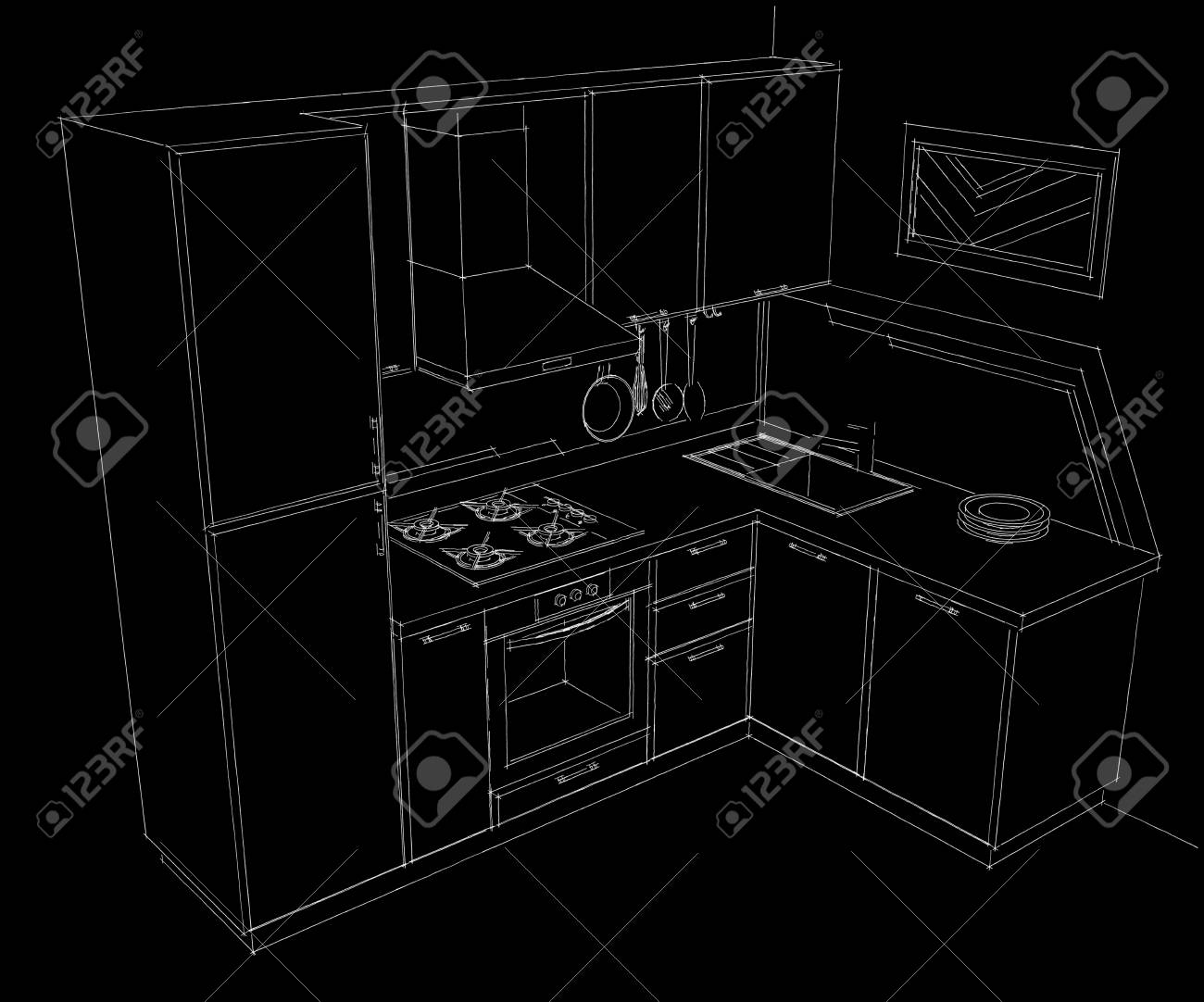 Black And White Hand Drawn Illustration Ofsmall Corner Kitchen Stock Photo Picture And Royalty Free Image Image 74102820