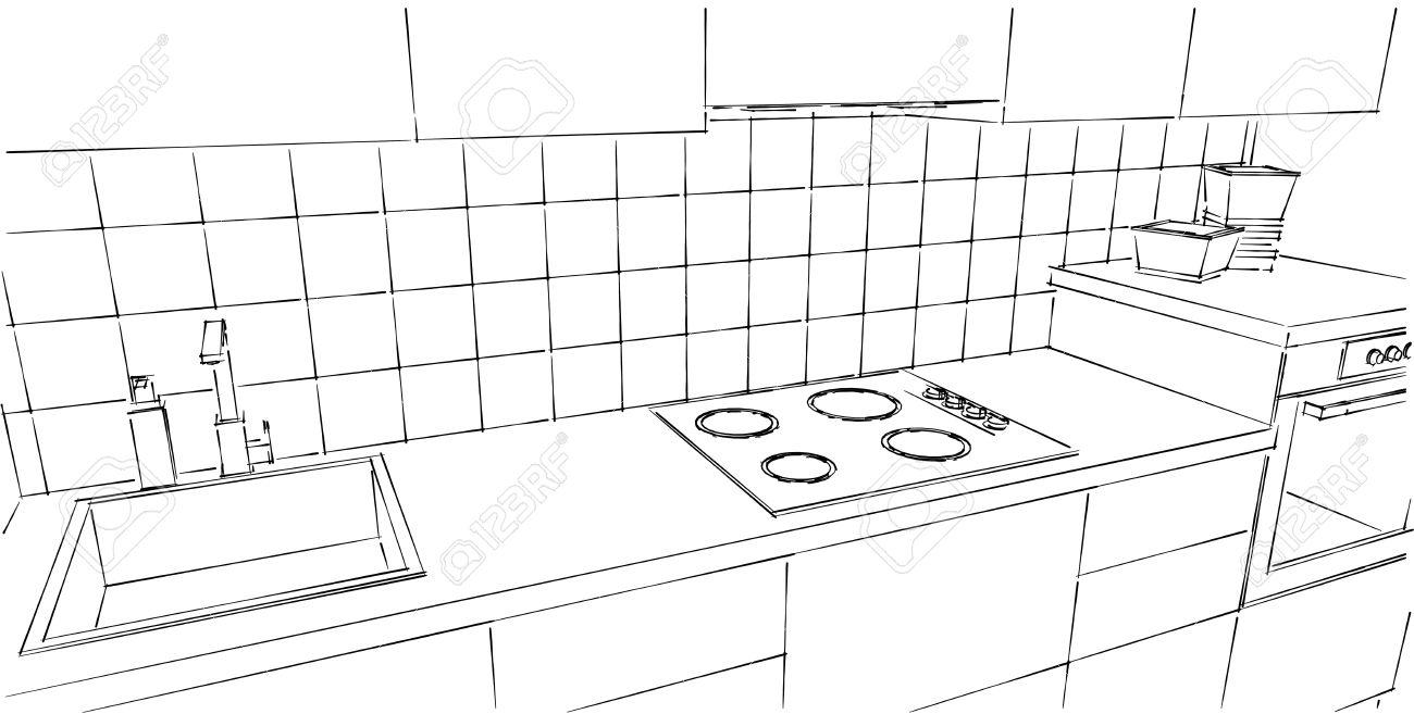 Comptoir De Cuisine En Gros Plan Dessin En Ligne Noir Et Blanc