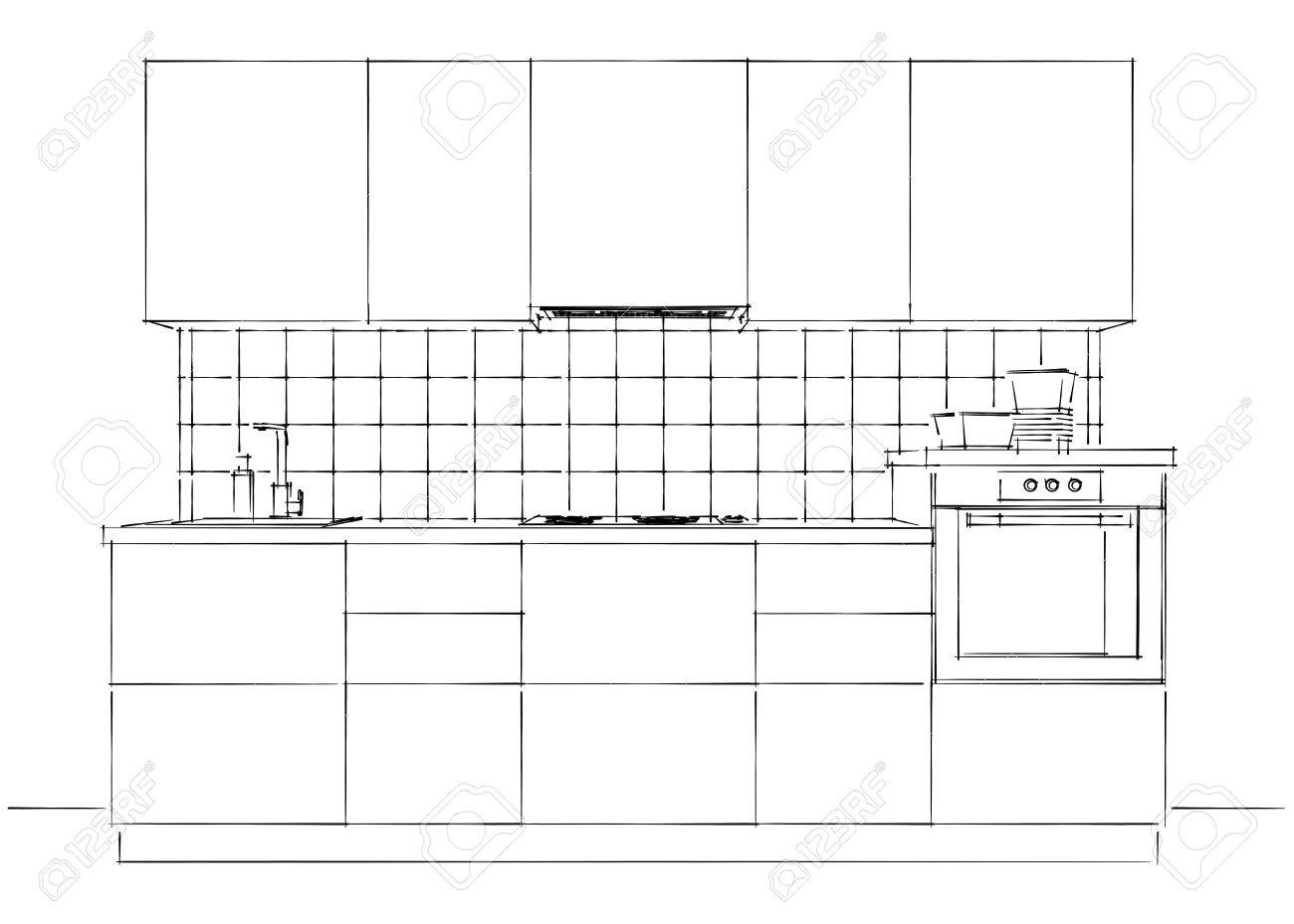 Contemporary kitchen interior sketch black and white isolated front perspective view stock photo