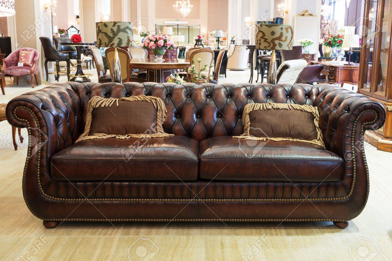 Classic Leather Sofa In A Furniture Store Stock Photo, Picture And ...