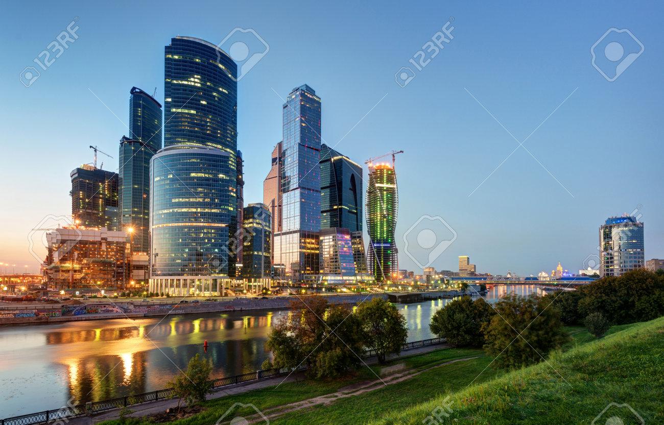 Moscou-ville de Moscou, centre international d'affaires la nuit, la Russie Banque d'images - 21558167