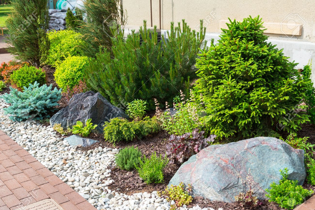 Natural stone landscaping in home garden stock photo picture and natural stone landscaping in home garden stock photo 29673135 workwithnaturefo