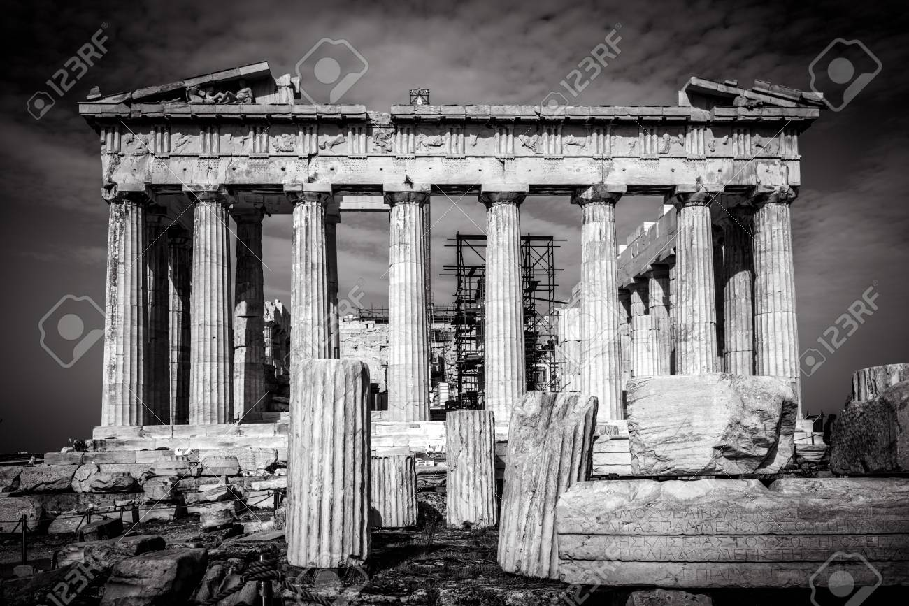 Parthenon on the acropolis of athens in black and white greece the famous ancient greek parthenon is the main landmark of athens