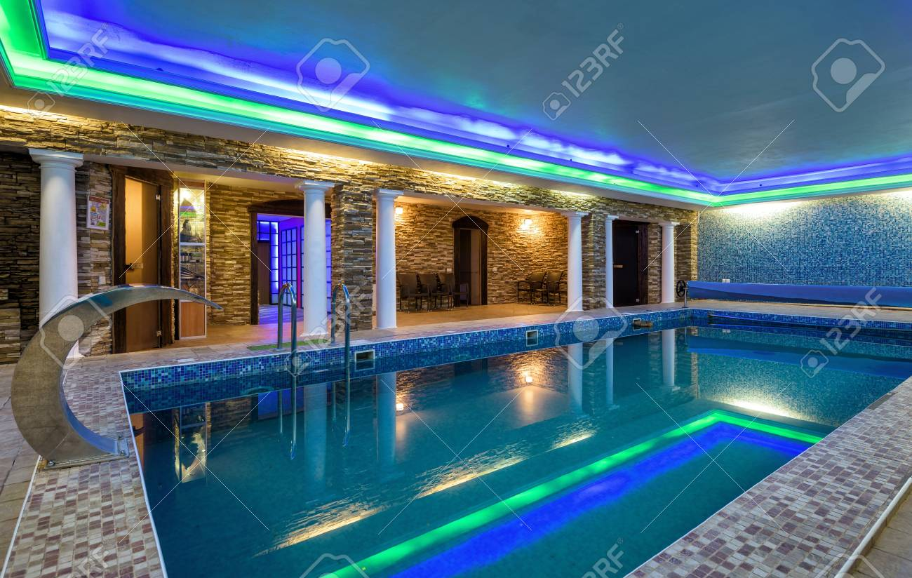 Moscow - May 2, 2018: Swimming pool in residential house or hotel...