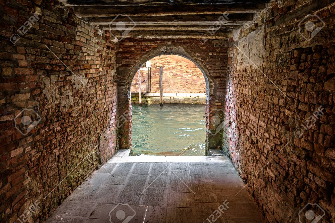 Exit To The Water Canal From Courtyard Venice Italy Vintage