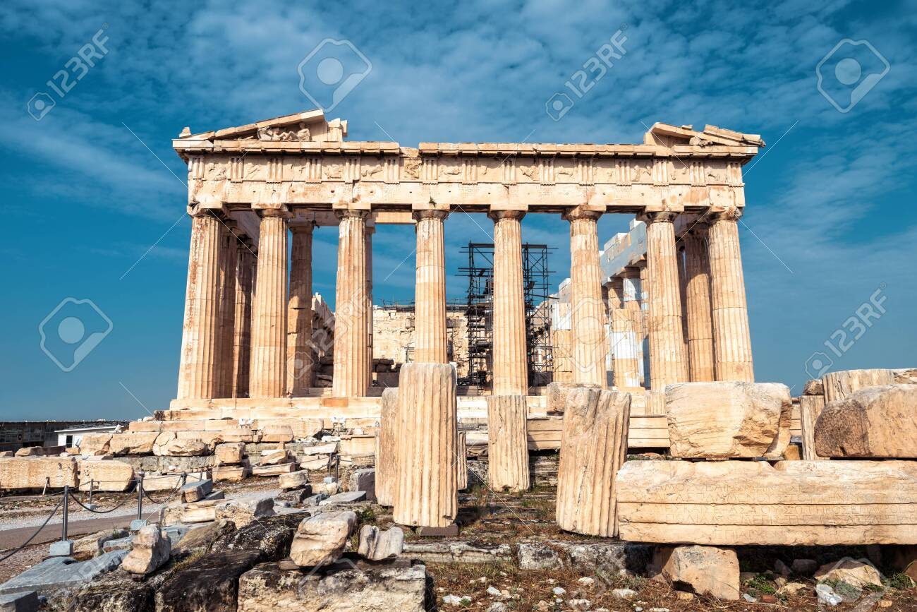 Ancient Parthenon temple on Acropolis, Athens, Greece. It is top landmark of Athens. Facade of famous Parthenon in Athens city center. Scenery of Greek ruins, remains of classical Athenian culture. - 133345843