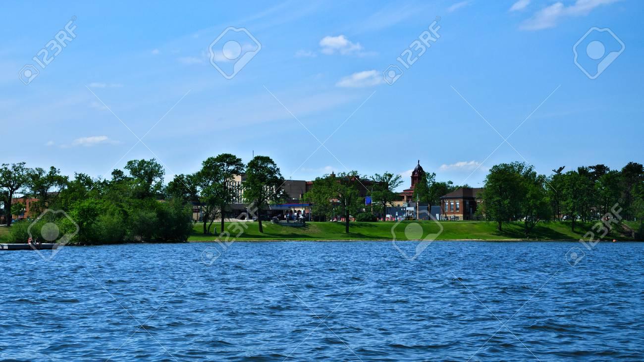 Bemidji Minnesota Downtown From A Boat On Lake Bemidji On