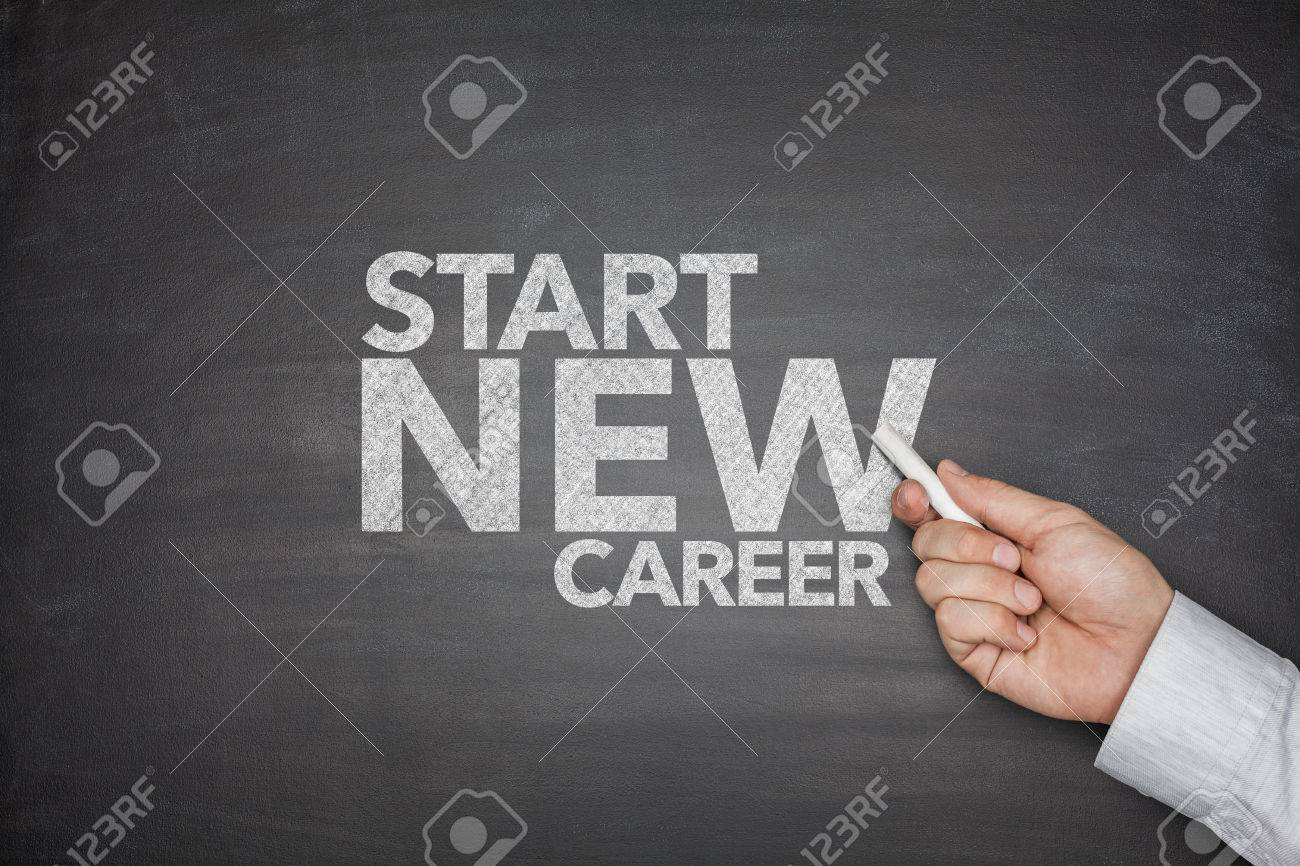 start new career on black blackboard hand holding chalk stock start new career on black blackboard hand holding chalk stock photo 34026996