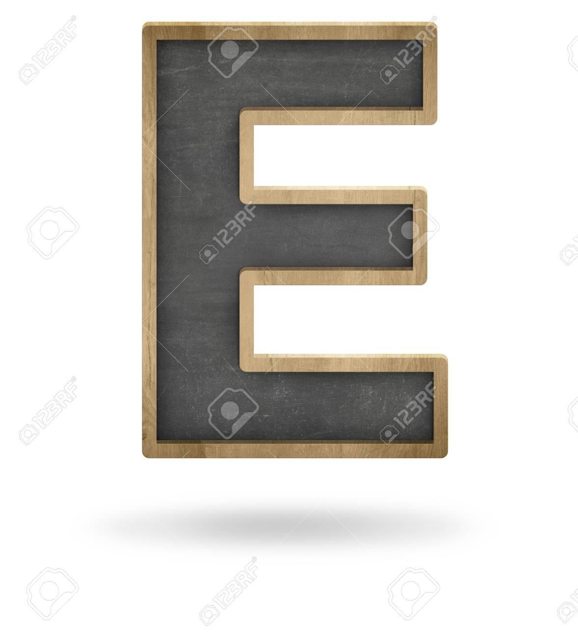 Black Blank Letter E Shape Blackboard On White Background Stock