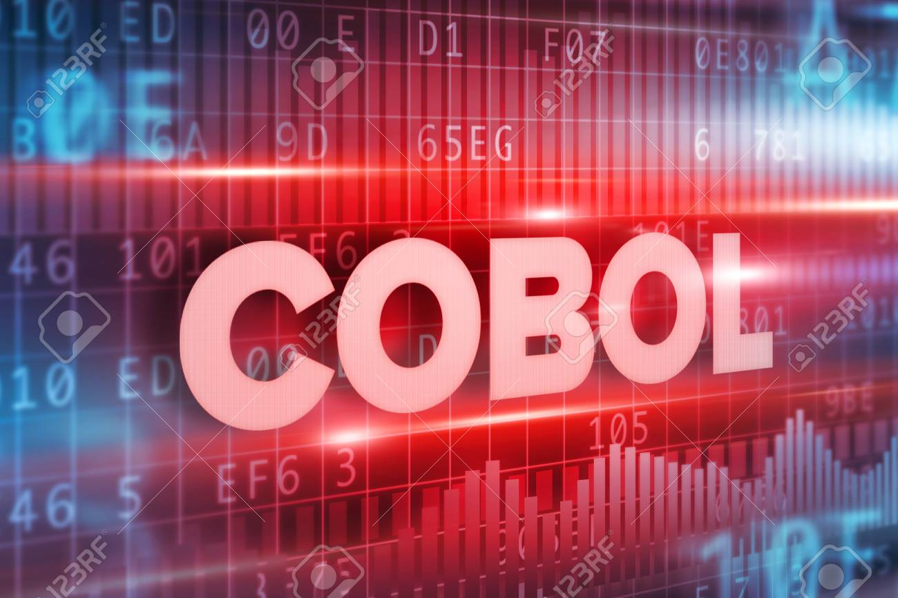 Cobol abstract concept blue text on blue background - 66203276