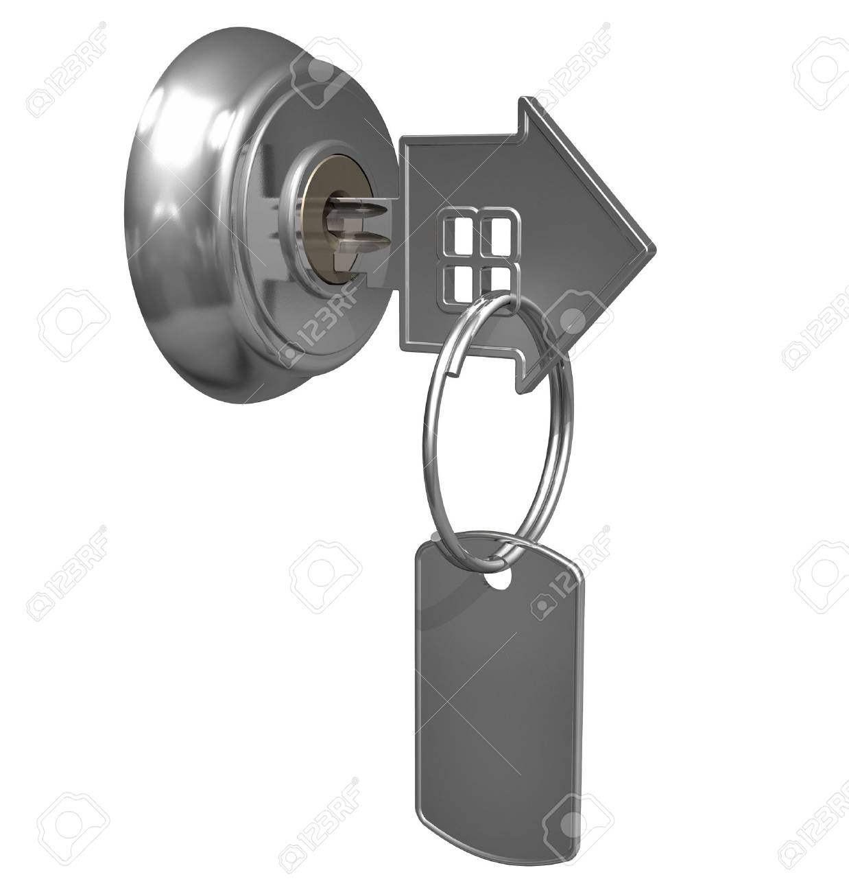 Key with label in keyhole Stock Photo - 6899521