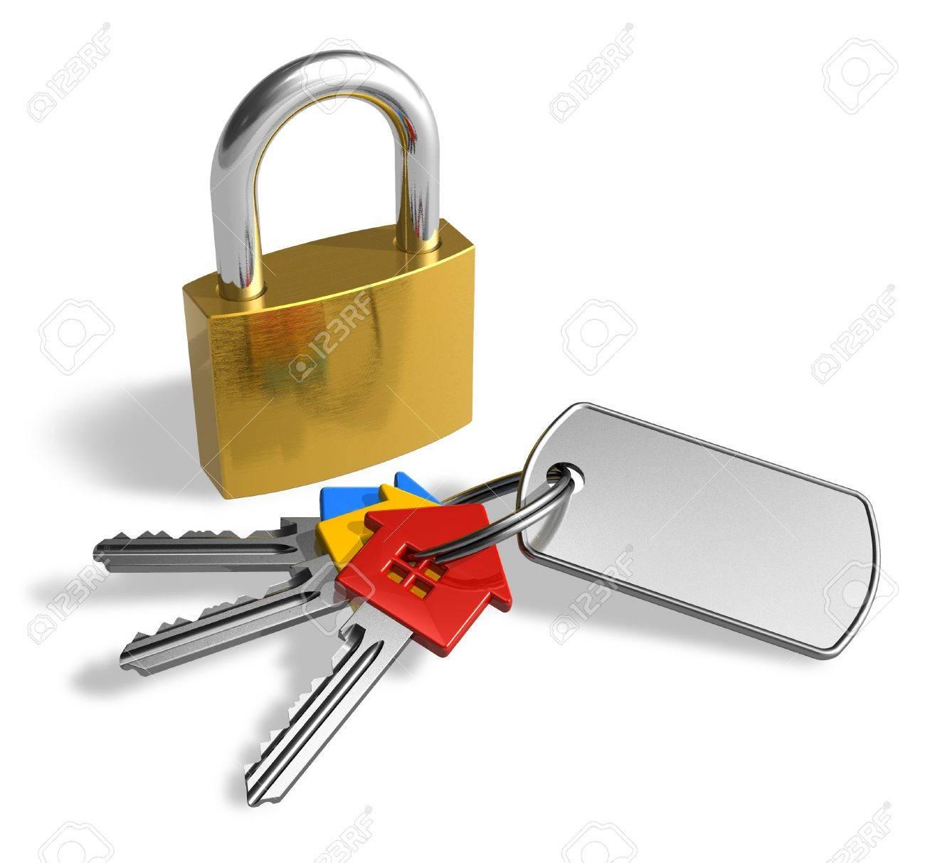 Padlock with bunch of keys - 7930037