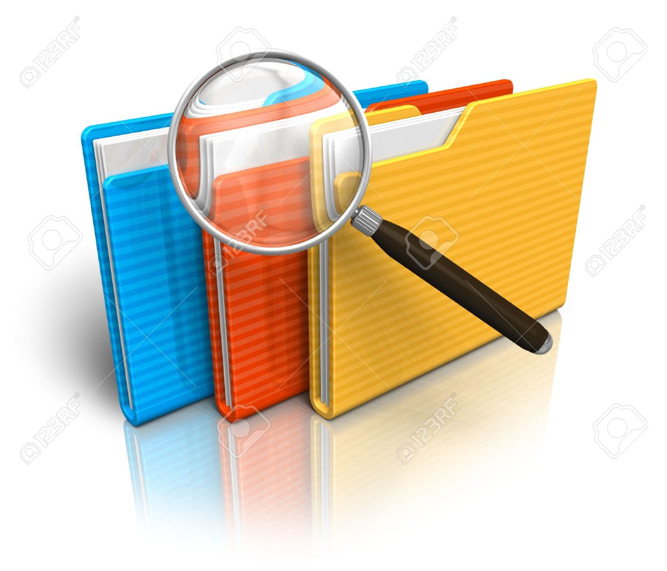 File search concept: folders and magnifying glass - 8644069