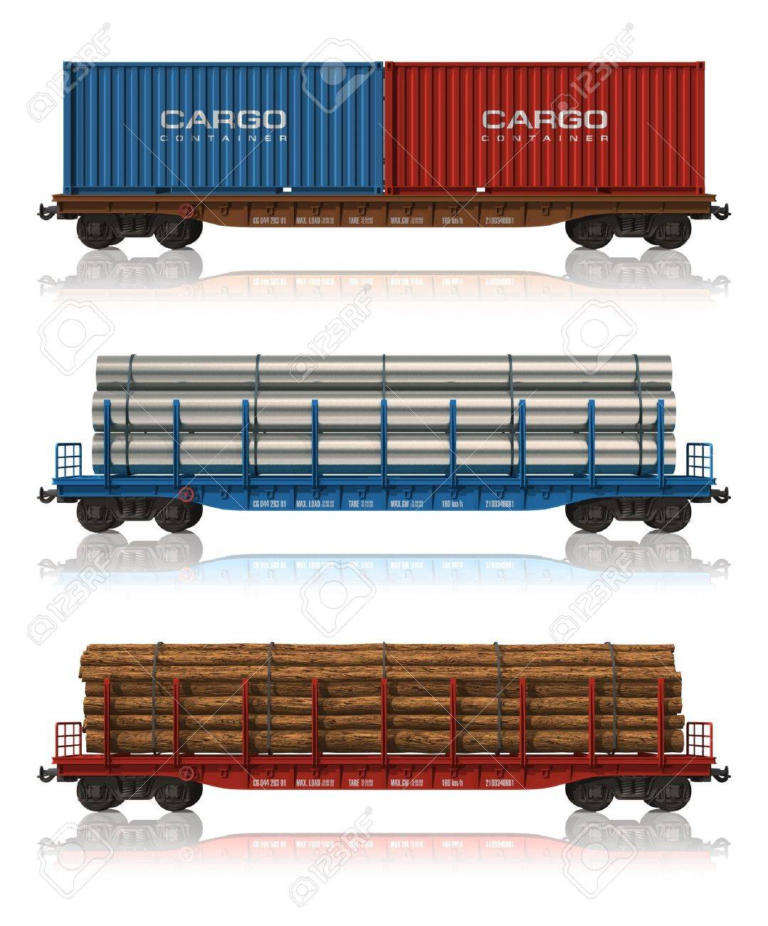 Set Of Freight Railroad Cars Stock Photo Picture And Royalty Free