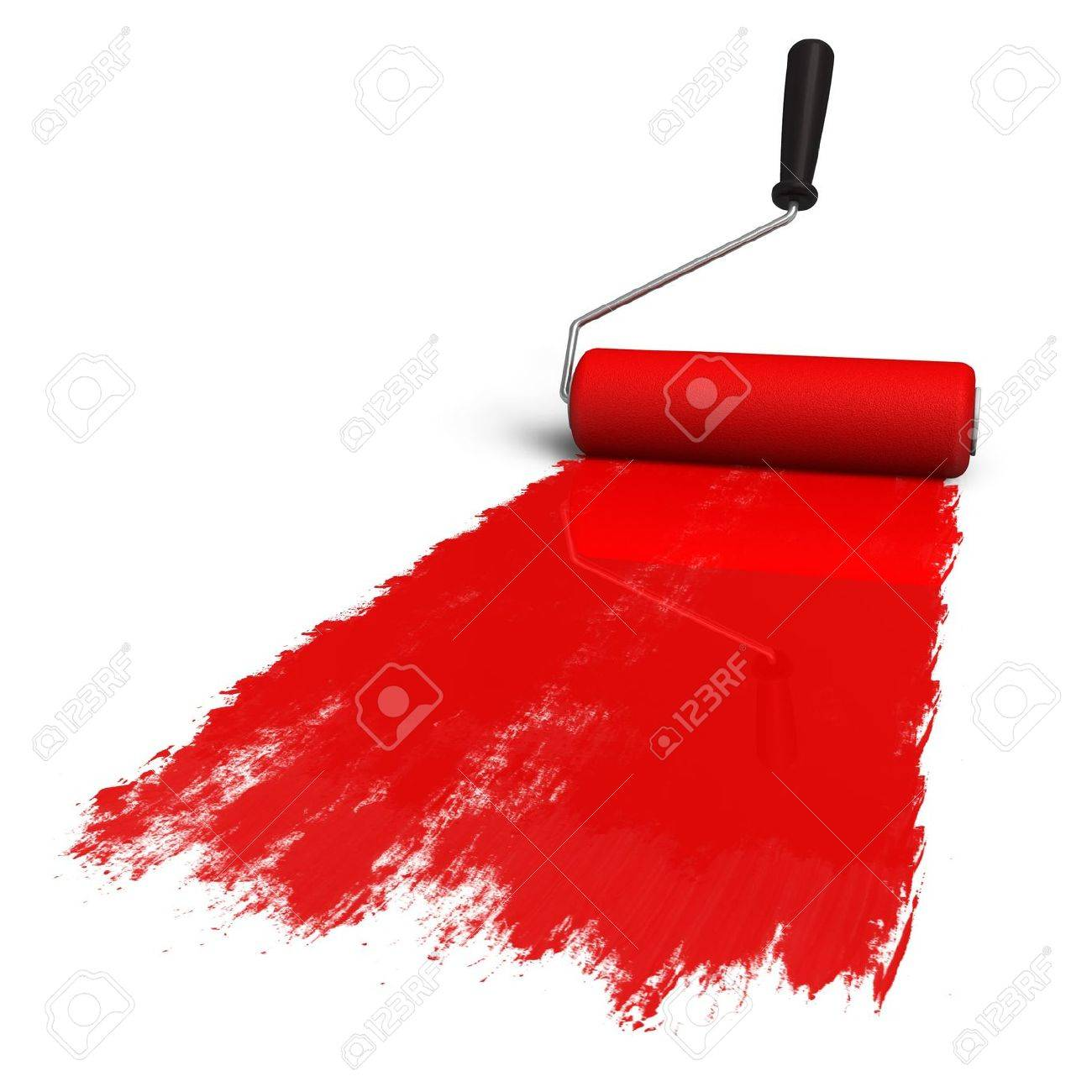 Red roller brush with trail of paint Stock Photo - 8920571