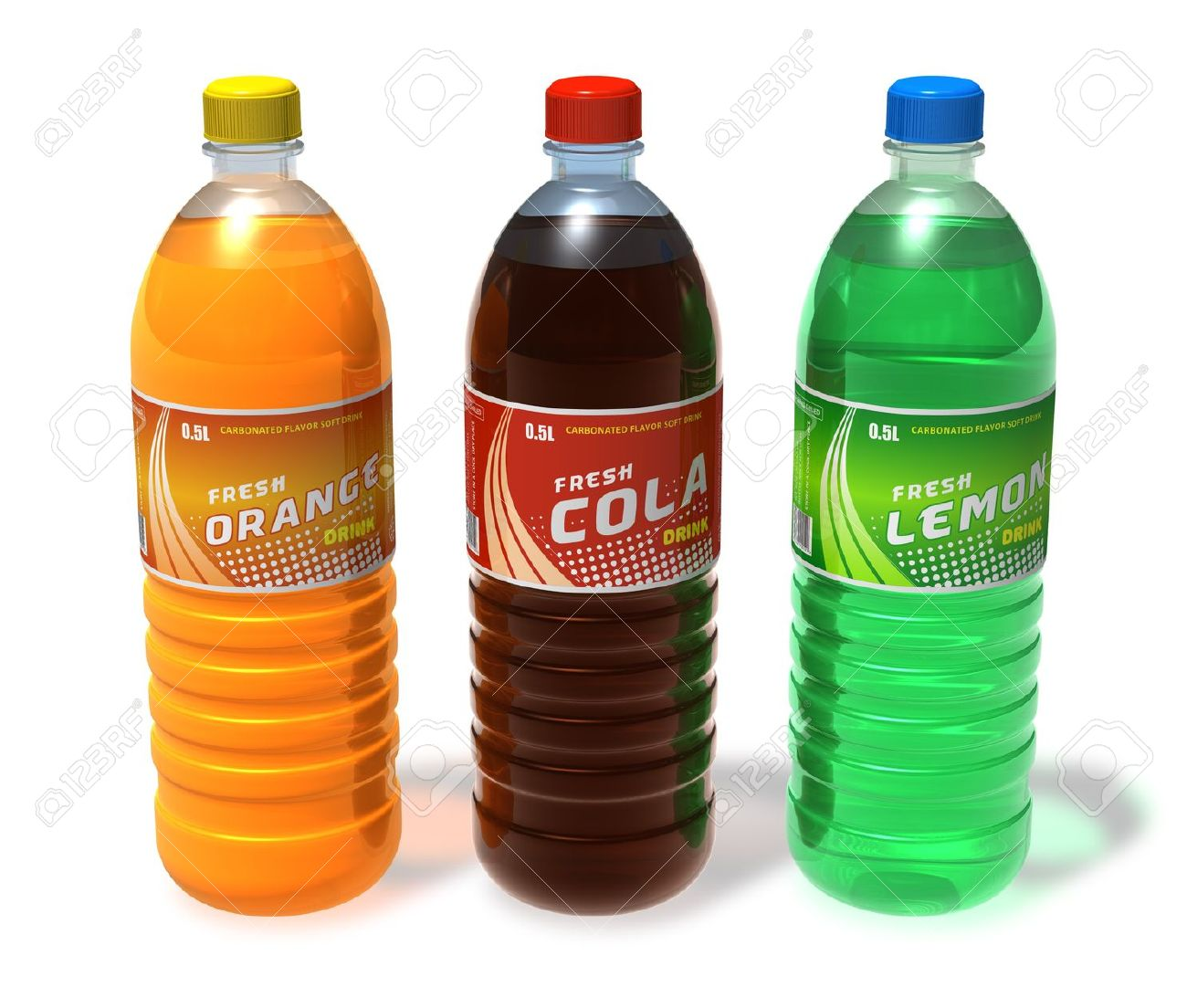 Set of refreshing drinks in plastic bottles *** Design of these bottles is my OWN - 9167555