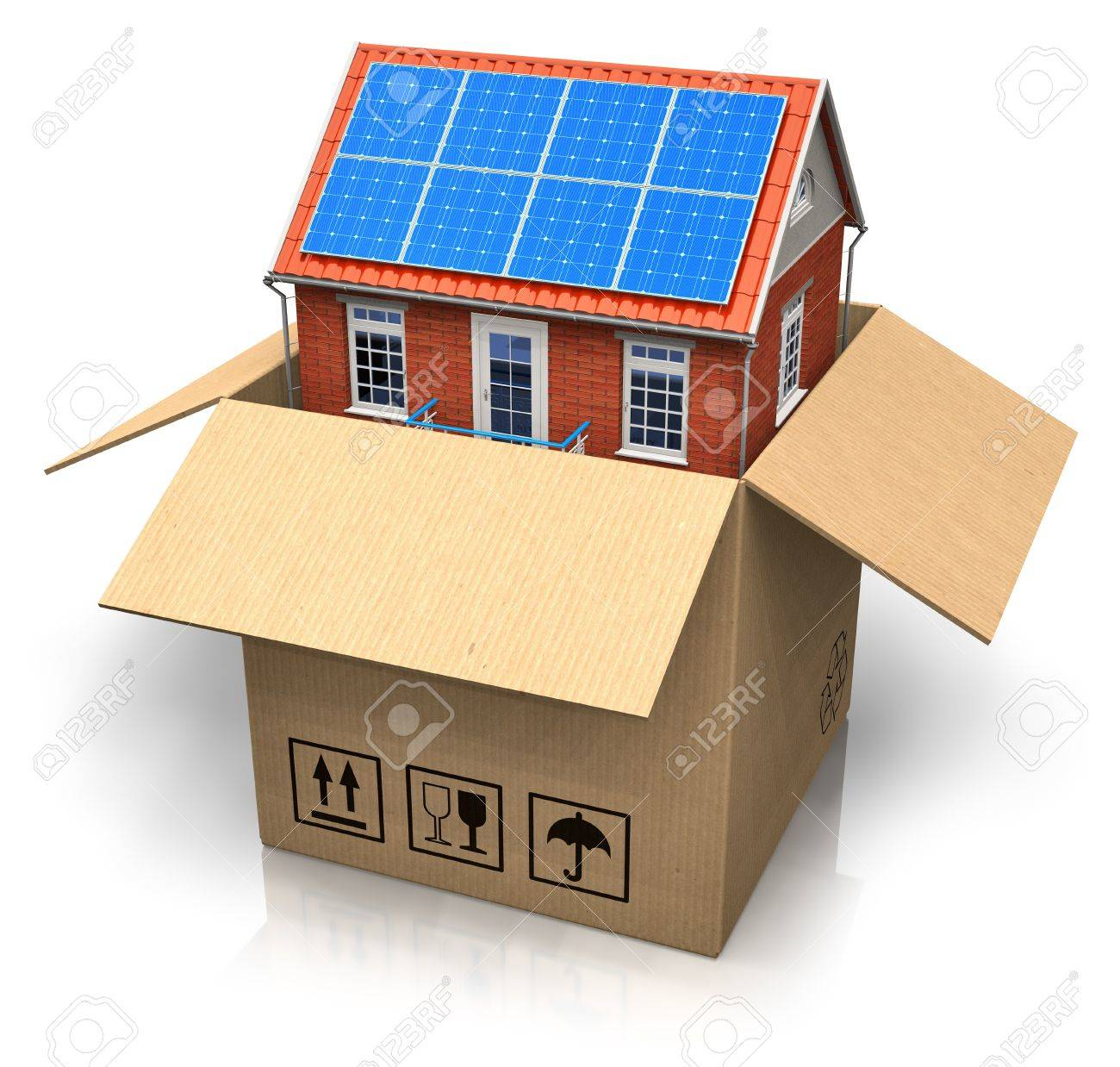 House With Solar Batteries In Cardboard Box