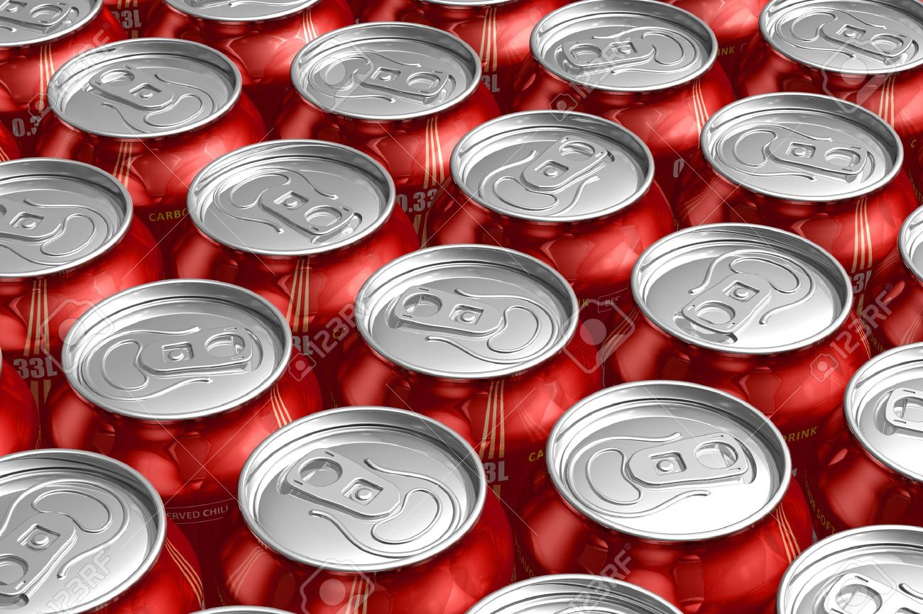Macro of metal cans with refreshing drinks Stock Photo - 9168837