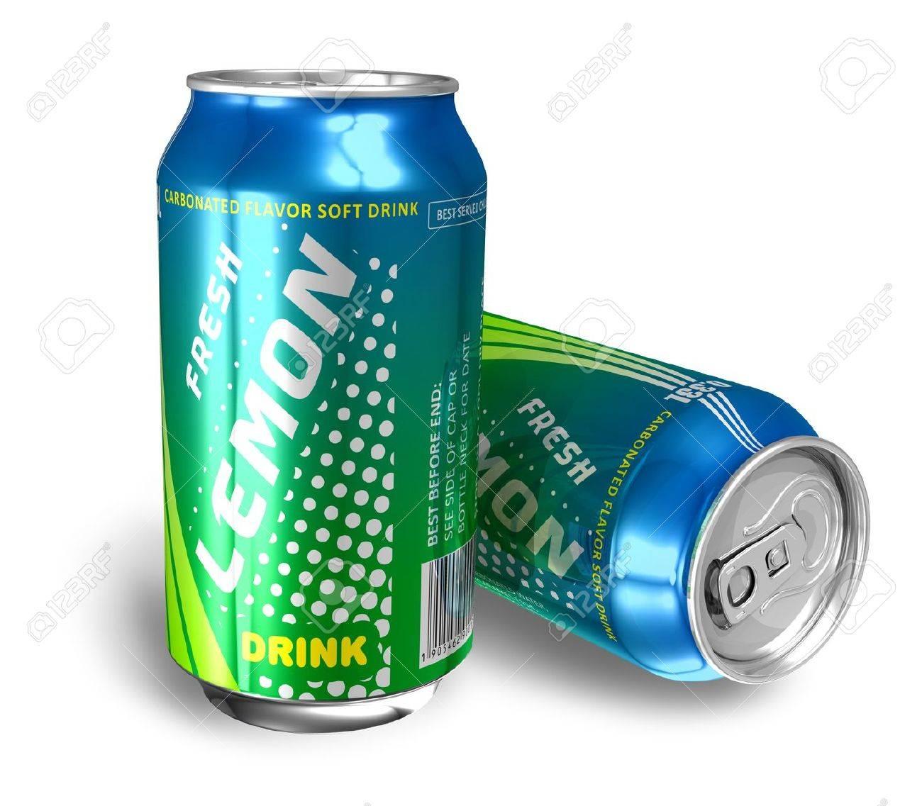 Lemon soda drinks in metal cans Stock Photo - 9162212