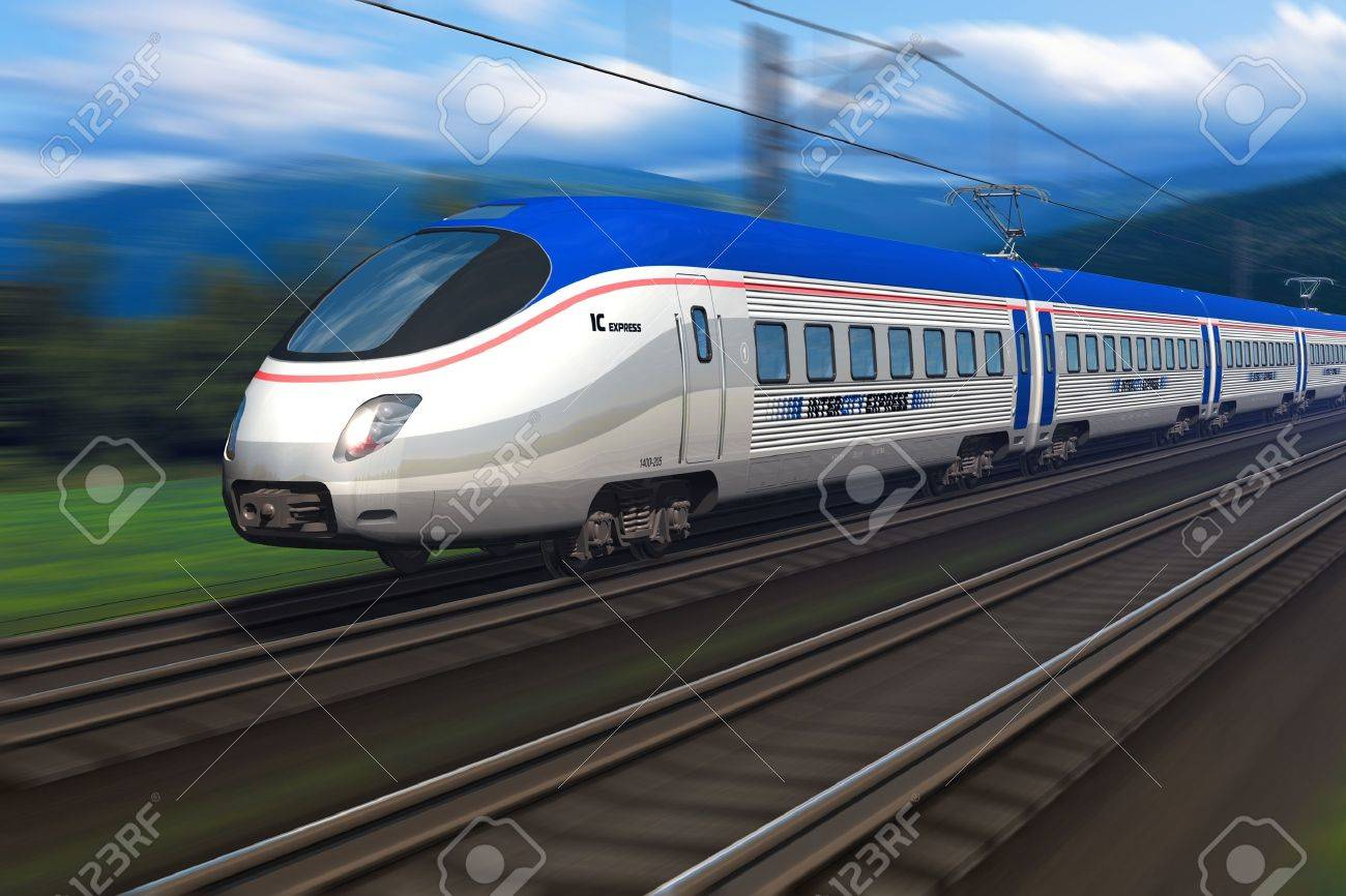 Modern high speed train with motion blur Stock Photo - 9264404