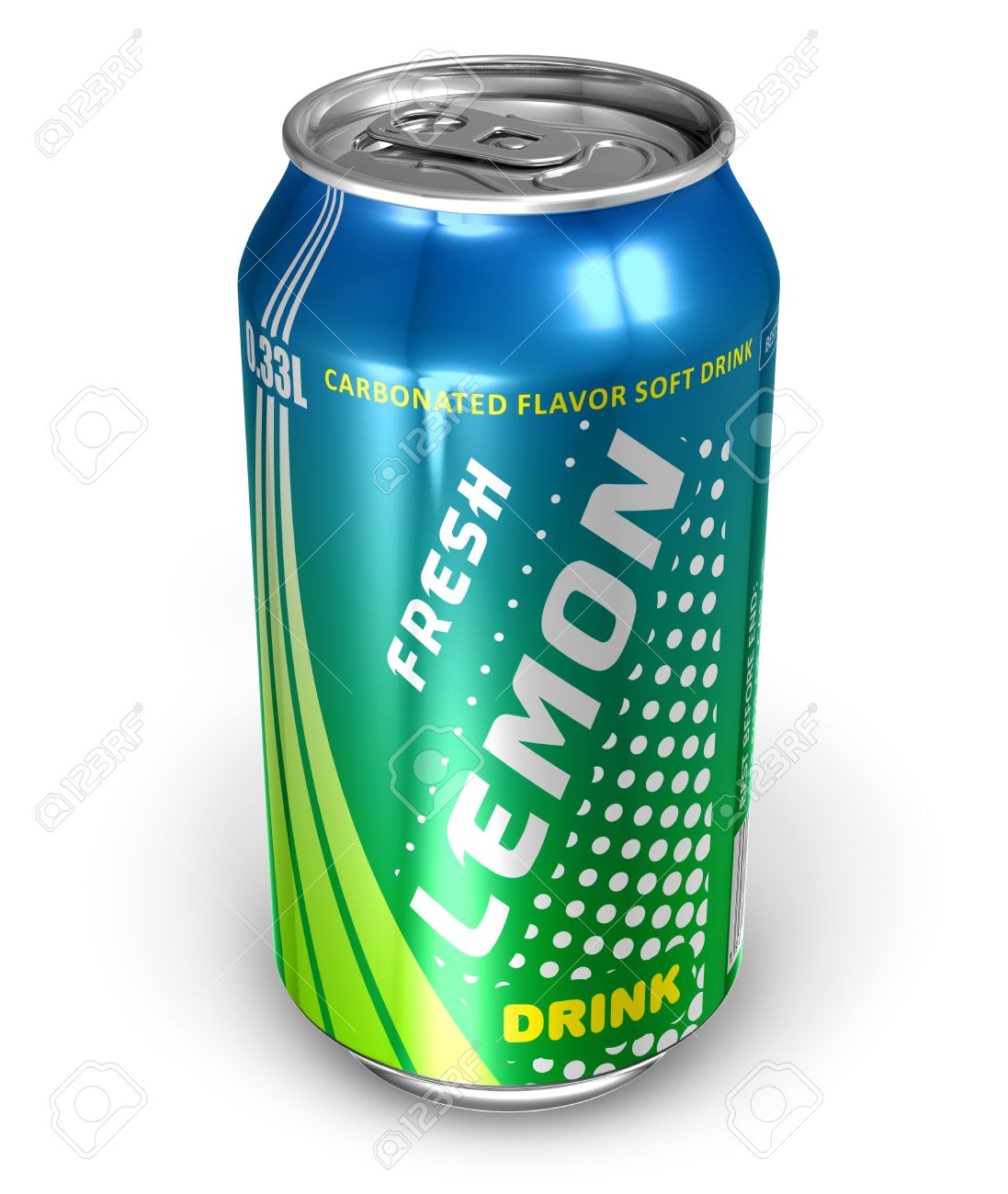 Lemon Soda Drink in Metal Can