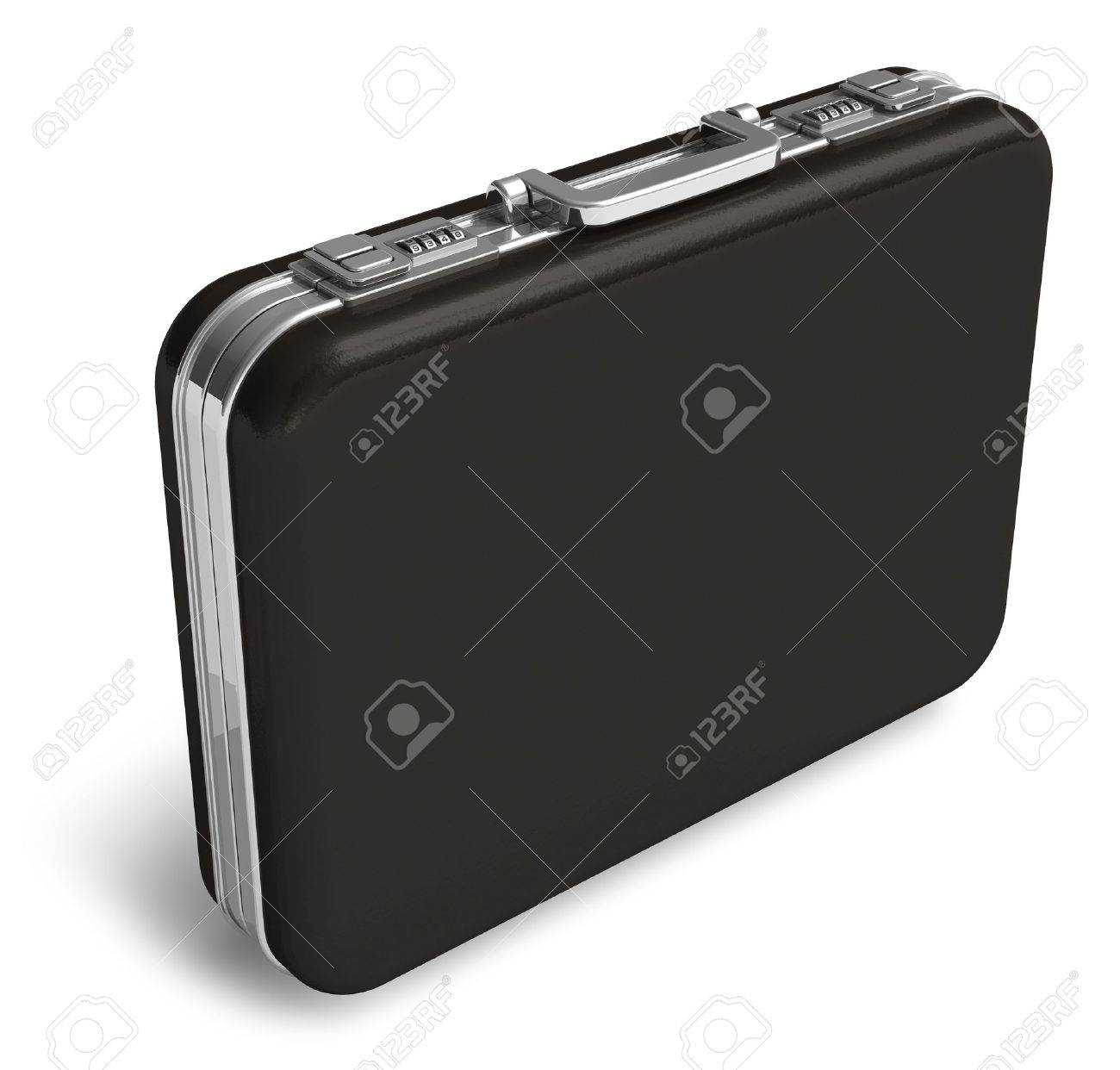 Black Leather Suitcase Isolated On White Background Stock Photo ...